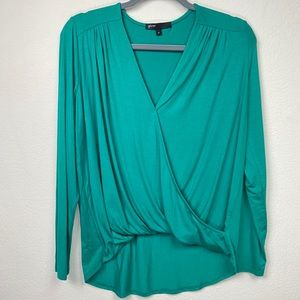 Gibson Surplice Front High Low Green Blouse